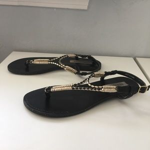 Steve Madden - Black and Gold Sandals - 8